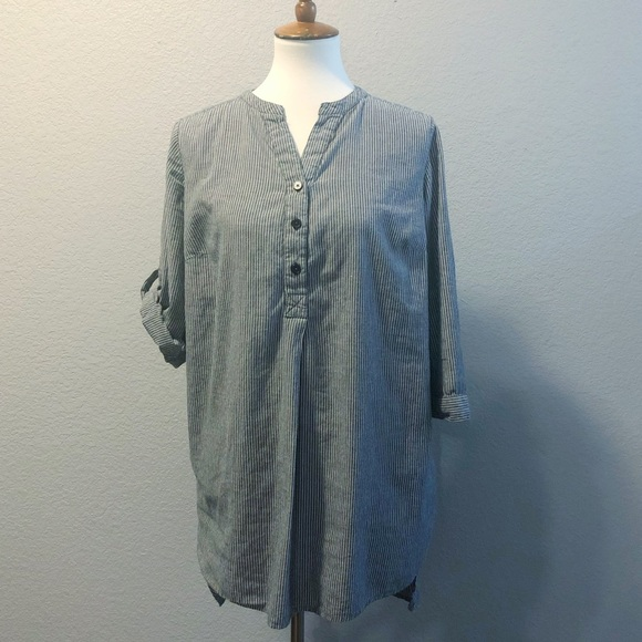 ellos Tops - Oversized Lagenlook Gray & White Stripe Tunic